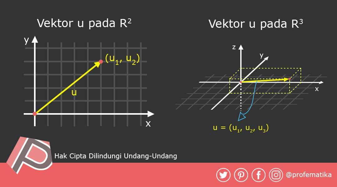 Ilustrasi Vektor u pada R2(Ruang dimensi 2 dan R3(Ruang dimensi 3)
